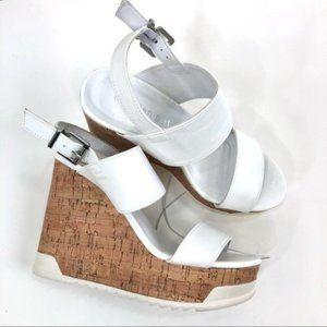 Madden Girl Platform Sandal White Juka Wedge Sz 6